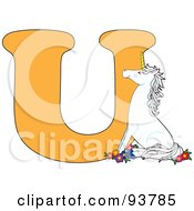Royalty Free RF Clipart Illustration Of A U Is For Unicorn Learn The Alphabet Scene by Maria Bell