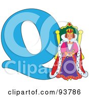 Royalty Free RF Clipart Illustration Of A Q Is For Queen Learn The Alphabet Scene by Maria Bell