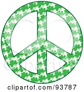 Royalty Free RF Clipart Illustration Of A Peace Symbol Made Of Green Shamrock Clovers by Maria Bell