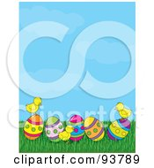 Royalty Free RF Clipart Illustration Of A Spring Time Easter Background Of Baby Chicks With Easter Eggs Under A Blue Sky by Maria Bell