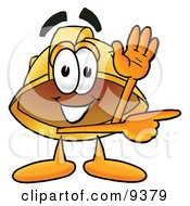 Clipart Picture Of A Hard Hat Mascot Cartoon Character Waving And Pointing by Toons4Biz