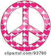 Peace Symbol Made Of Pink Hearts On Pink