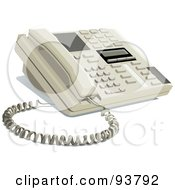 Royalty Free RF Clipart Illustration Of A Modern Office Telephone Resting On A Desk by yayayoyo