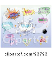 Royalty Free RF Clipart Illustration Of A Digital Collage Of Boom Puff Wow Bla Hmm Hellow Hi Bye Zap And Bomb Comic Conversation Icons