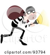 Tip Toeing Robber Pointing A Flashlight And Carrying A Bag On His Shoulders
