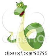 Royalty Free RF Clipart Illustration Of A Cute Green Snake Smiling And Facing Front by yayayoyo