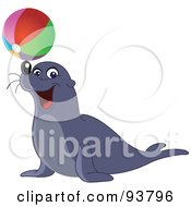 Royalty Free RF Clipart Illustration Of A Cute And Entertaining Sea Lion Balancing A Colorful Beach Ball On His Nose