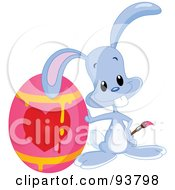 Royalty Free RF Clipart Illustration Of A Cute Blue Easter Bunny By A Dripping Heart Easter Egg