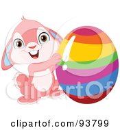Royalty Free RF Clipart Illustration Of A Cute Pink Easter Bunny Holding Up A Rainbow Striped Easter Egg by yayayoyo