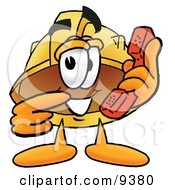Clipart Picture Of A Hard Hat Mascot Cartoon Character Holding A Telephone