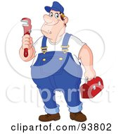Friendly Male Plumber In Overalls Holding A Wrench And Tool Box