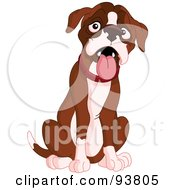 Royalty Free RF Clipart Illustration Of A Behaved Cute Boxer Dog Sitting