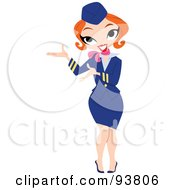 Royalty Free RF Clipart Illustration Of A Friendly Stewardess Woman Directing The Way by yayayoyo