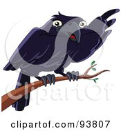 Royalty Free RF Clipart Illustration Of A Cute Raven Bird Pointing With His Wing While Perched On A Branch by yayayoyo