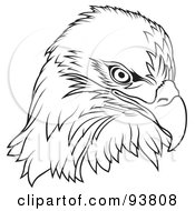 Royalty Free RF Clipart Illustration Of A Black And White Bald Eagle Head by dero