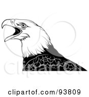 Royalty Free RF Clipart Illustration Of A Black And White Bald Eagle Squaking by dero