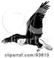 Royalty Free RF Clipart Illustration Of A Black And White Bald Eagle In Flight 4 by dero