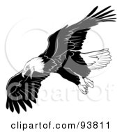 Royalty Free RF Clipart Illustration Of A Black And White Bald Eagle In Flight 5 by dero