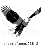 Royalty Free RF Clipart Illustration Of A Black And White Bald Eagle In Flight 2 by dero