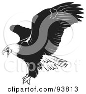 Royalty Free RF Clipart Illustration Of A Black And White Bald Eagle In Flight 1 by dero