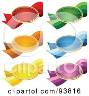 Royalty Free RF Clipart Illustration Of A Digital Collage Of Six Oval Shaped Colorful Price Tags On Ribbons