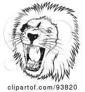 Royalty Free RF Clipart Illustration Of A Black And White Roaring Male Lion Head 1