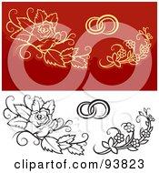 Digital Collage Of Weddig Design Elements 4