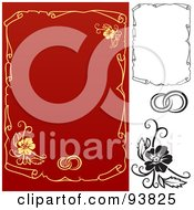 Digital Collage Of Weddig Design Elements 8