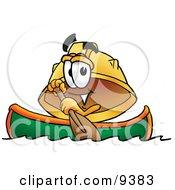 Hard Hat Mascot Cartoon Character Rowing A Boat