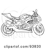 Royalty Free RF Clipart Illustration Of A Black And White Outline Of A Motorcycle With Flame Decals by dero