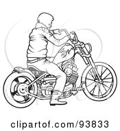 Royalty Free RF Clipart Illustration Of A Black And White Outline Of A Motorcycle Biker 7