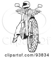 Royalty Free RF Clipart Illustration Of A Black And White Outline Of A Motorcycle Biker 2