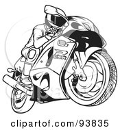 Royalty Free RF Clipart Illustration Of A Black And White Outline Of A Motorcycle Biker 1