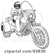Royalty Free RF Clipart Illustration Of A Black And White Outline Of A Motorcycle Biker 5 by dero