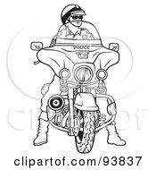 Royalty Free RF Clipart Illustration Of A Black And White Outline Of A Motorcycle Police Officer by dero