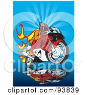 Royalty Free RF Clipart Illustration Of A Motorcycle Biker With Flames Over Blue by dero