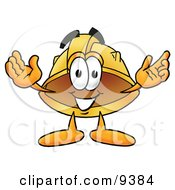 Clipart Picture Of A Hard Hat Mascot Cartoon Character With Welcoming Open Arms