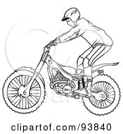 Royalty Free RF Clipart Illustration Of A Black And White Outline Of A Motorcycle Biker 3