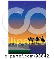 Royalty Free RF Clipart Illustration Of Twinkling Stars Over The Three Wise Men 1