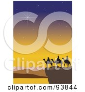 Royalty Free RF Clipart Illustration Of Twinkling Stars Over The Three Wise Men 5