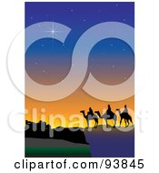 Royalty Free RF Clipart Illustration Of Twinkling Stars Over The Three Wise Men 4