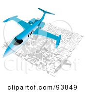 Royalty Free RF Clipart Illustration Of A Blue Commercial Airliner Over A City