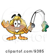 Clipart Picture Of A Hard Hat Mascot Cartoon Character Holding A Fish On A Fishing Pole by Toons4Biz