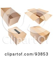 Royalty Free RF Clipart Illustration Of A Digital Collage Of Four Open Closed And Ballot Cardboard Boxes