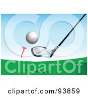 Royalty Free RF Clipart Illustration Of A Big Driver Golf Club Whacking A Golf Ball Off Of A Tee