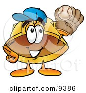Clipart Picture Of A Hard Hat Mascot Cartoon Character Catching A Baseball With A Glove by Toons4Biz