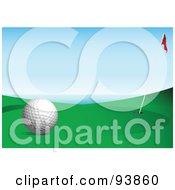 Royalty Free RF Clipart Illustration Of A Golf Ball Near A Flag And Hole On A Coastal Course