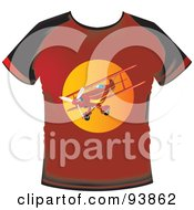 Red T Shirt With A Biplane Graphic