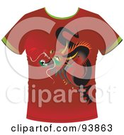 Red T Shirt With A Dragon Graphic