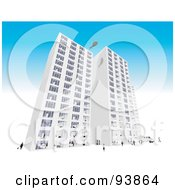 Royalty Free RF Clipart Illustration Of A Skyscraper Exterior Over Blue 4 by toonster